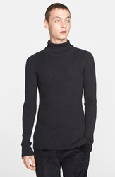 John Varvatos Merino Wool And Silk Turtleneck Dark Grey