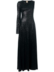 Pascal Millet Sequin Embellished Asymmetric Sleeve Gown Black