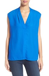 Women's Halogen Pleat V Neck Shell Blue Boat