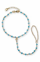 Argentovivo Women's Argento Vivo Beaded Heart Charm Hand Chain Gold Turquoise
