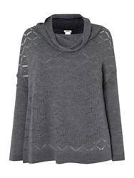 Persona Anticipo Crochet Cowl Neck Wool Knitted Top Dark Grey