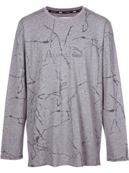 'Puma X Stampd' Cracked Mud Print Sweatshirt Grey