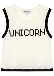 Wildfox Couture Barback Unicorn Ivory Cotton Tank White And Black