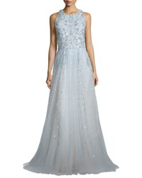 Monique Lhuillier Beaded Sleeveless T Back Gown Sky Blue