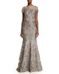 David Meister Short Sleeve Floral Jacquard Mermaid Gown Gray