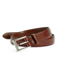 Saks Fifth Avenue Polished Leather Belt Tan Chili Brown