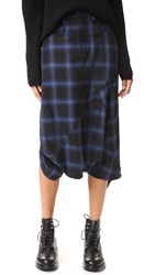 R 13 Asymmetric Drop Shorts Blue Plaid 2