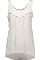 Rebecca Minkoff Anita Embellished Linen Tank Off White