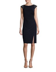 Vince Camuto Cap Sleeve Bead Accented Ruched Sheath Dress Navy