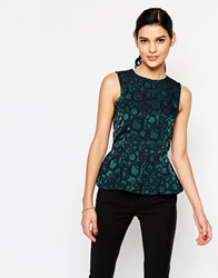 Closet Peplum Top In Jacquard Blackpattern