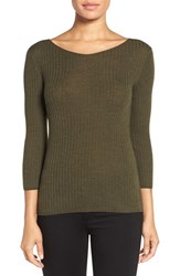 Classiques Entierr Women's Entier Button Back Ribbed Merino Wool Sweater Olive Night Hthr