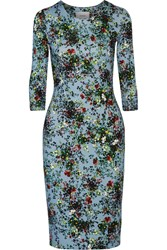 Erdem Allegra Floral Print Stretch Jersey Dress Light Blue