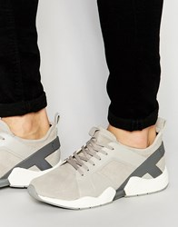 Aldo Atche Leather Trainers Beige Grey