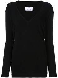 Allude Deep V Neck Knitted Top Black