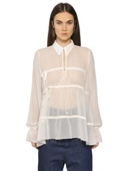 Maison Martin Margiela Gathered Sheer Chiffon Shirt