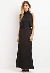 Forever 21 Layered Mock Neck Maxi Dress Black