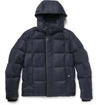 Brioni Quilted Checked Wool And Cashmere Blend Down Jacket Navy