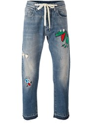 Andrea Pompilio Embroidered Detail Jeans Blue