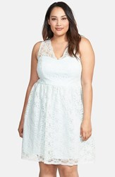 Plus Size Women's Marina V Neck Lace Fit And Flare Dress Mint