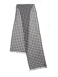 John Varvatos Gingham Cotton Scarf Grey