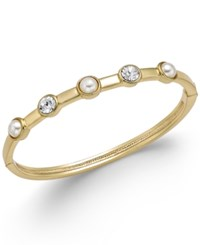 Charter Club Gold Tone Imitation Pearl And Crystal Hinge Bracelet Only At Macy's