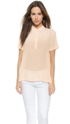 Ag Jeans Meadows Silk Blouse Pink Dust