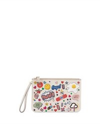 Anya Hindmarch Allover Wink Zip Top Pouch White Multi