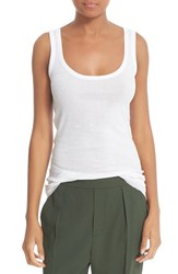 Vince Women's Scoop Neck Pima Cotton Layering Tank White