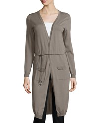 Peserico Open Front Maxi Cardigan W Leather Belt Dark Taupe