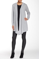 Yuni Hi Lo Hooded Open Drape Cardigan Gray