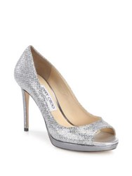 Jimmy Choo Luna Leather And Glitter Peep Toe Pumps Silver