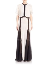 Burberry Two Tone Silk Crepe Gown White