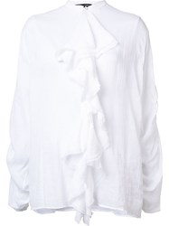 Isabel Benenato Gathered Ruffle Blouse White