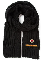 Diesel Cable Knit Scarf Black