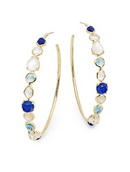 Ippolita Rock Candy London Blue Topaz Lapis Clear Quartz And 18K Yellow Gold Doublet Hoop Earrings 2.25