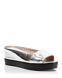 French Connection Platform Sandals Pepper Silver