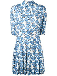 Paul And Joe Floral Print Shirt Dress Blue
