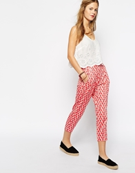 People Tree With Orla Kiely Organic Cotton Tailored Trouser In Wallflower Print Pink