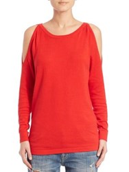 Tart Eva Cold Shoulder Cotton And Cashmere Sweater Red