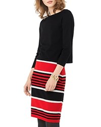Phase Eight Darina Stripe Dress Black Red