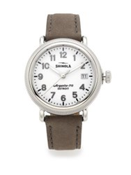 Shinola Runwell Coin Edge Stainless Steel And Leather Strap Watch Brown