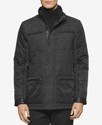 Calvin Klein Men's Mixed Media Quilted Pea Coat Pitch Black Heather