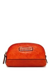 Frye Michelle Leather Makeup Bag Orange