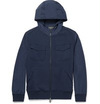 Berluti Cotton Blend Bomber Jacket Navy