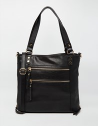 Oasis Double Zip Satchel Black