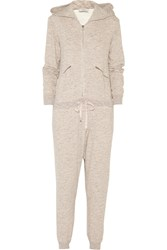 Clu Hooded Cotton French Terry Jumpsuit Pink