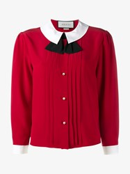 Gucci Pleated Silk Blouse Red White Black Pearl