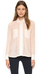 See By Chloe Button Down Blouse White Pink