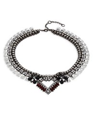 Gerard Yosca Gunmetal Crystal Pendant Layered Necklace Silver