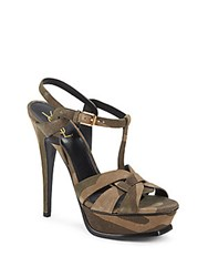 Yves Saint Laurent Tribute Camouflage Suede Platform Sandals Army Green